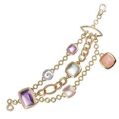 Gemstone Diamond Multi-Strand gold Bracelet