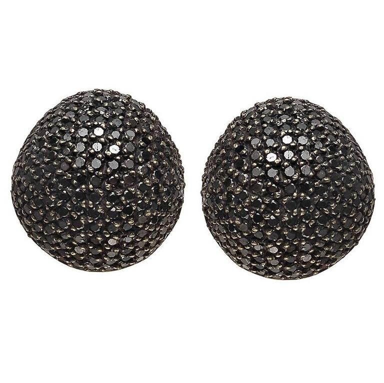Yossi Harari Black Diamond Dome Earrings