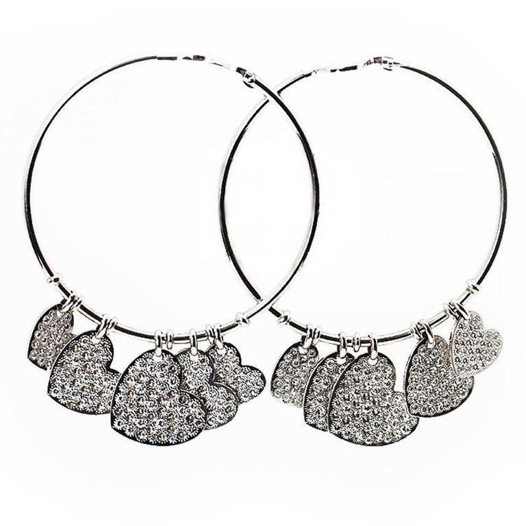 Dior Diamond Gold Heart Hoop Earrings 1