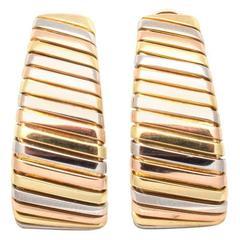 Large Bulgari Tricolor Gold Hoop Earrings