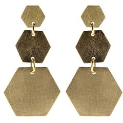 Jona Brushed Yellow Gold Hexagonal Pendant Earrings