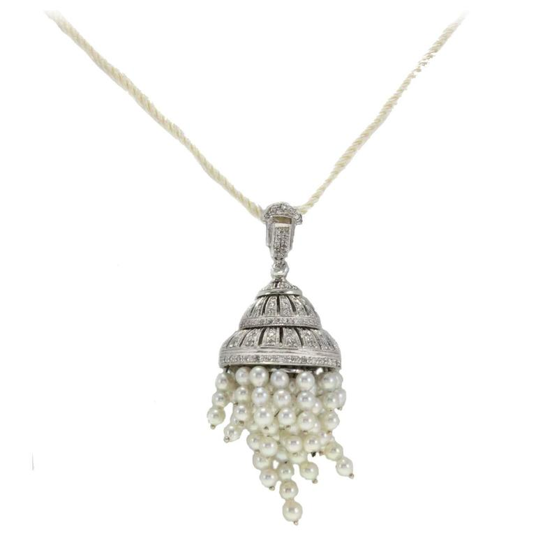 Diamonds Pearls Pendant Gold  Necklace