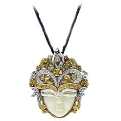 Luise White Diamonds Blue Diamonds  Tsavorite Venetian Mask Pendant Necklace