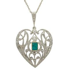 Antique 1890s 0.33 ct Emerald and 0.35 ct Diamond, 9 k White Gold Heart Pendant