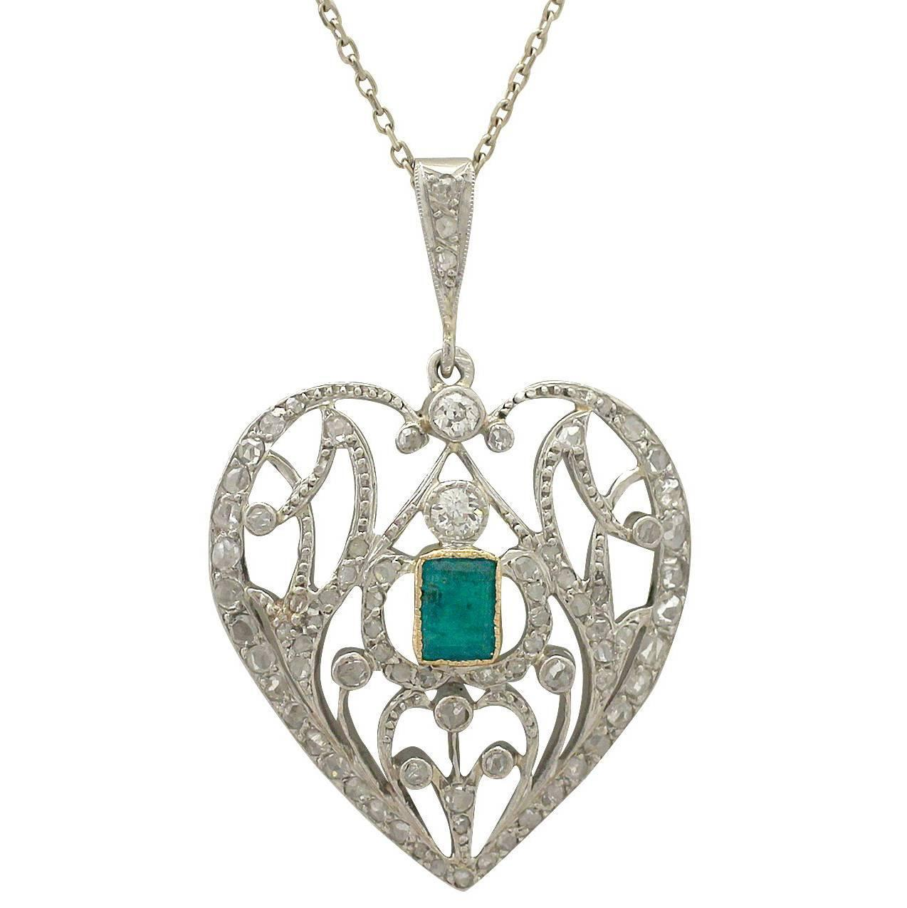 Antique 1890s 033 ct emerald and 035 ct diamond 9 k white gold antique 1890s 033 ct emerald and 035 ct diamond 9 k white gold heart pendant for sale at 1stdibs aloadofball