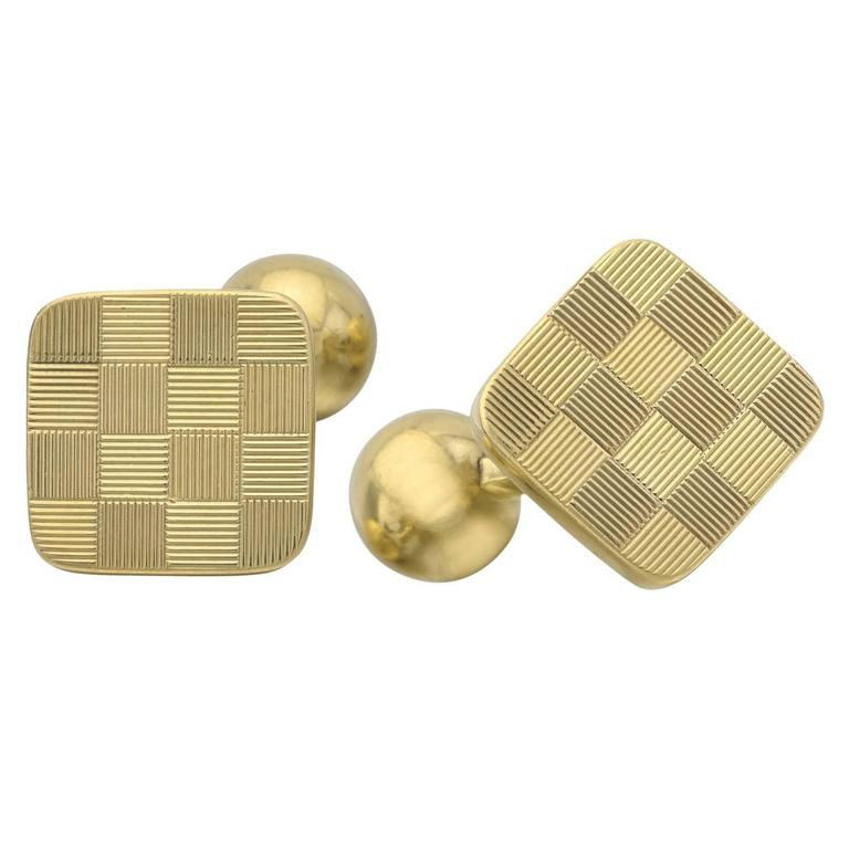 Tiffany And Co Yellow Gold Checkerboard Cufflinks At 1stdibs