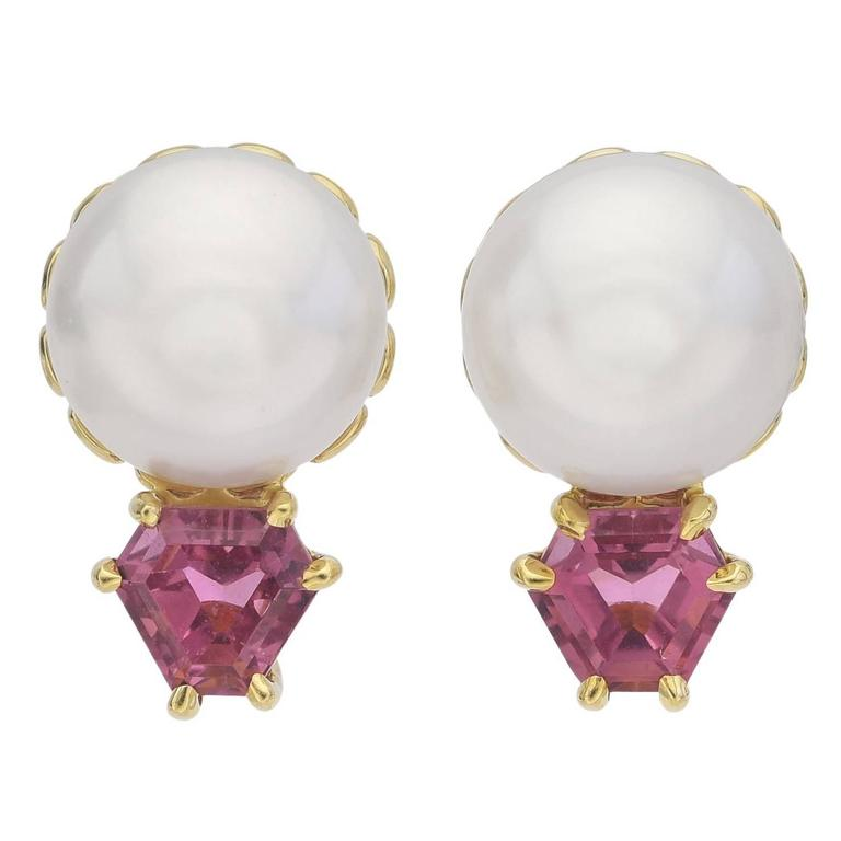 Button Pearl and Pink Tourmaline Stud Earrings
