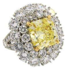 Van Cleef & Arpels GIA Cert Fancy Intense Yellow Diamond Platinum Ring VCA