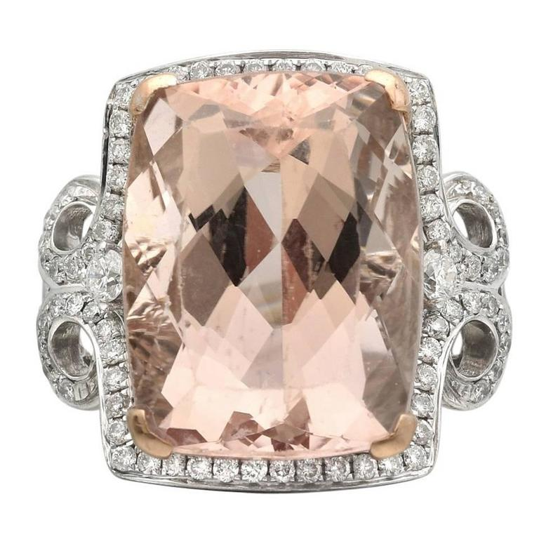 Morganite and Diamond Cocktail Ring