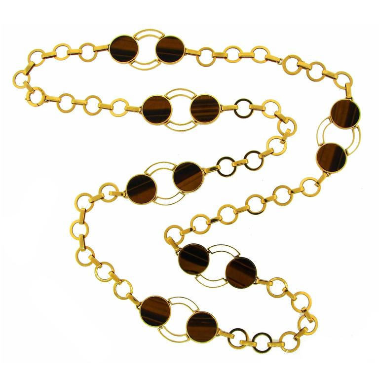 1970s GUCCI Tiger's Eye Gold Necklace Bracelet Set 1