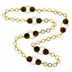1970s GUCCI Tiger's Eye Gold Necklace Bracelet Set