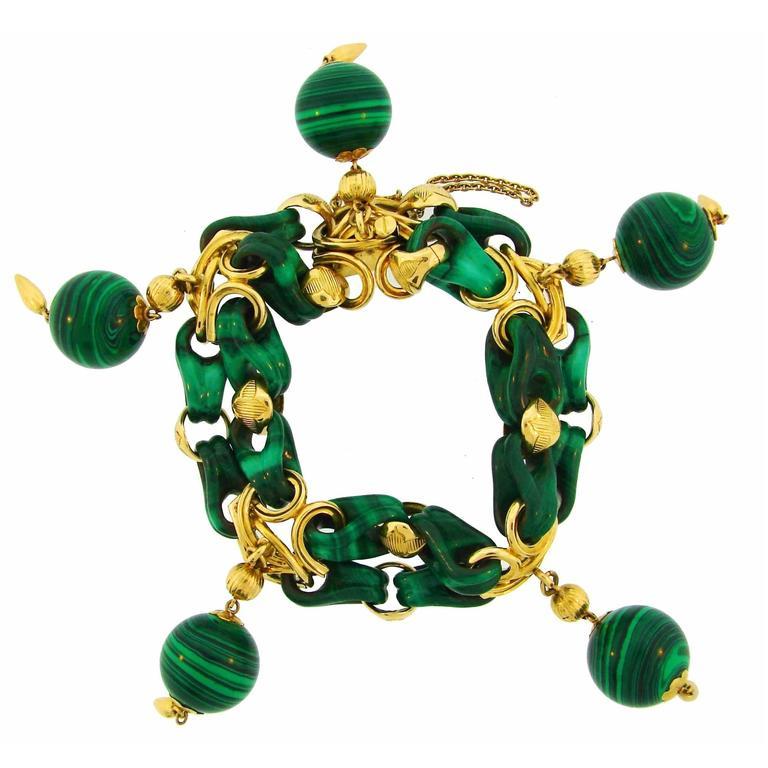 1970s French Malachite Gold Charm Bead Bracelet  1