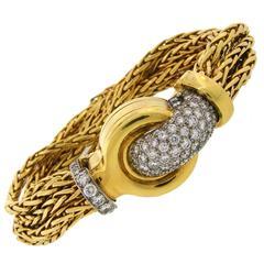 Elegant VERDURA Diamond Platinum Gold Watch Bracelet