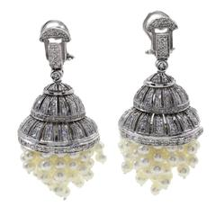 Diamonds Pearls Chandelier Gold Earrings