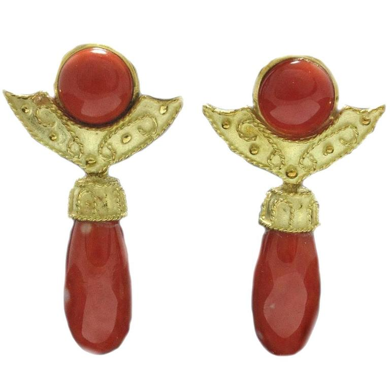 Coral Gold Earrings