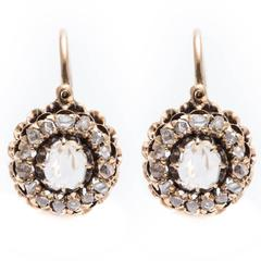 Georgian Rose Cut Diamond Earrings in Yellow Gold