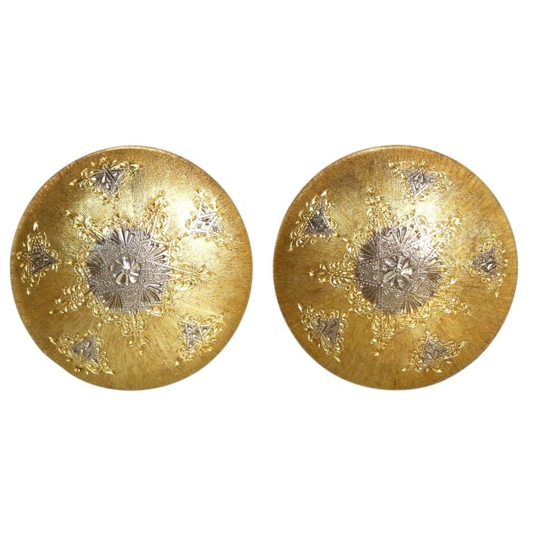 Buccellati Two-Tone Gold Button Earclips 1