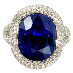 18K Gold Mauboussin Paris Unheated 12 Carat Burma Sapphire Diamond Ring
