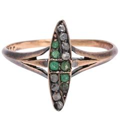 Antique Art Nouveau Emerald Diamond Marquise Ring