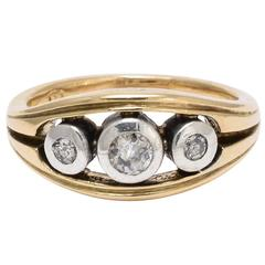 1940s Diamond Trilogy Gold Ring