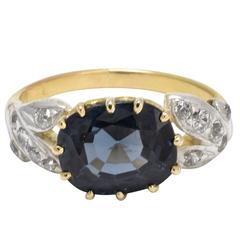 Early Victorian Dark Blue Spinel Diamond Ring