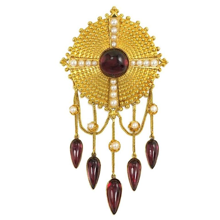 French Antique  Garnet  Pearl  Gold Brooch For Sale