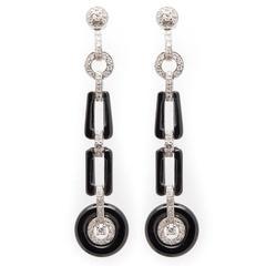 Dramatic Diamond Onyx Earrings In Platinum
