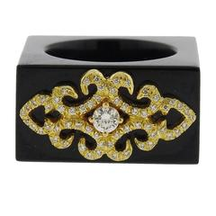 Henry Dunay Gold Black Jade Diamond Square Ring