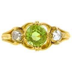 Antique Peridot  Rose Cut Diamond Ring