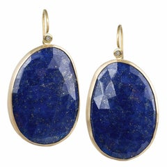 Faceted Blue Gold Lapis Lazuli White Diamond Matte Finish Dangle Drop Earrings