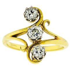 Art Nouveau Diamond  Yellow Gold Ring