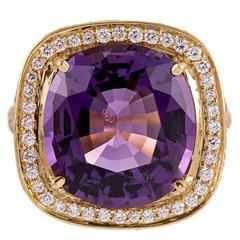 8.03 Carat Amethyst  Diamond Ring