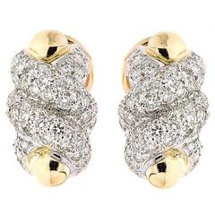 Swirl Earrings with Pave Diamonds