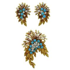 1950s French  Diamond Turquoise Gold Set