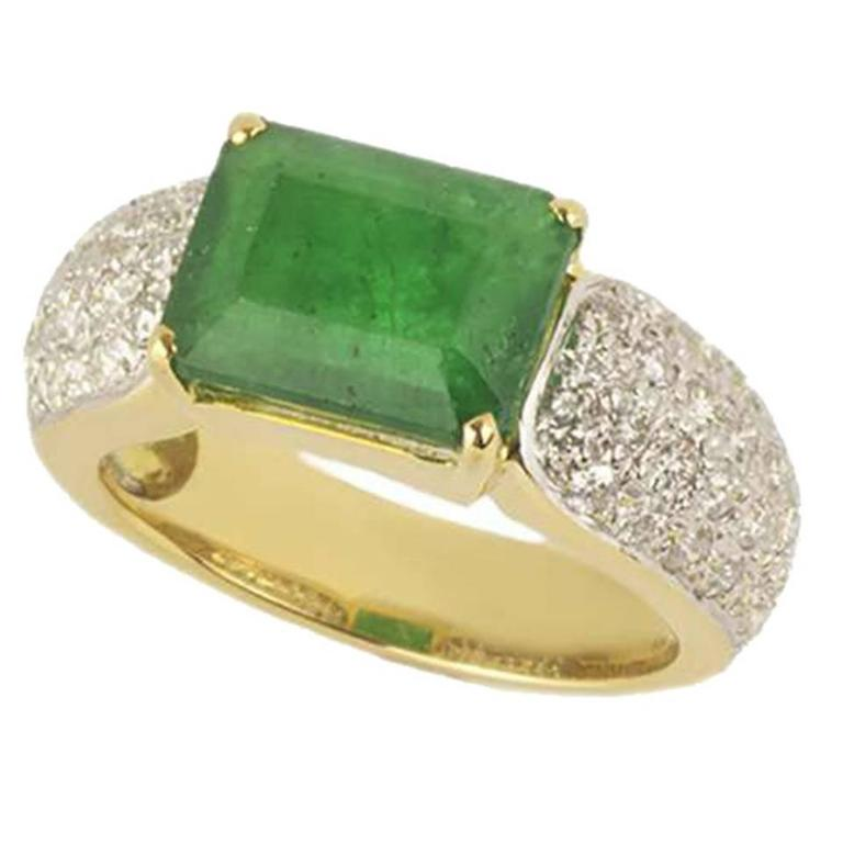 emerald and dress ring 3 78 carat for sale at 1stdibs