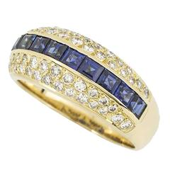 Tiffany & Co. Gold Diamond and Sapphire Ring