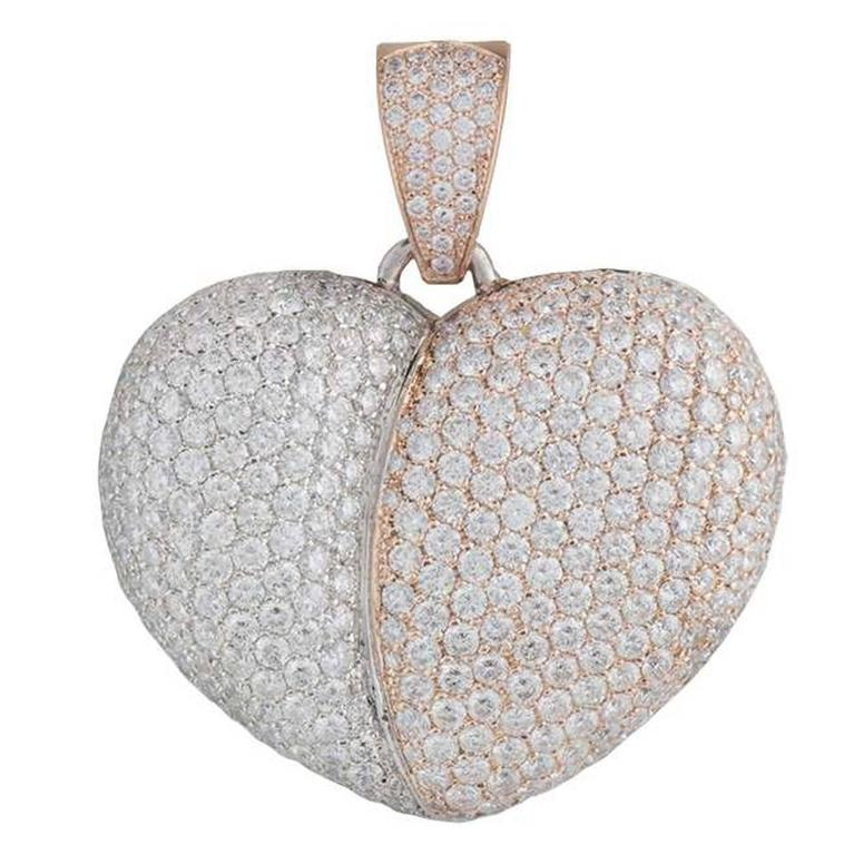 Jacob & Co White & Rose Diamond Heart Pendant