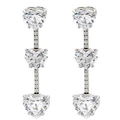 Exceptional GIA Heart Shaped Diamond Drop Earrings