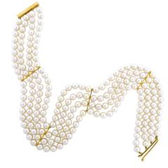 Gold Four Strand Cultured Pearl Choker 13.75 Inches Long