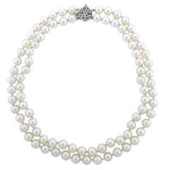 Double Strand Cultured Pearl Necklace with Gold Diamond Clasp