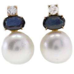 Luise Pearl Sapphire & Diamond Earrings