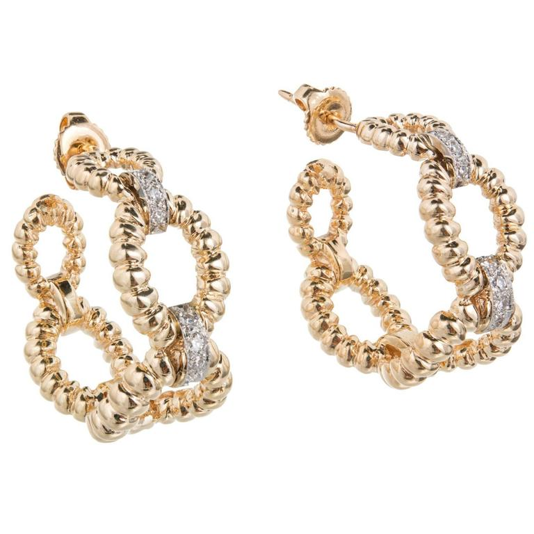 Dan Frere Diamond Gold Rope Hoop Earrings For Sale at 1stdibs