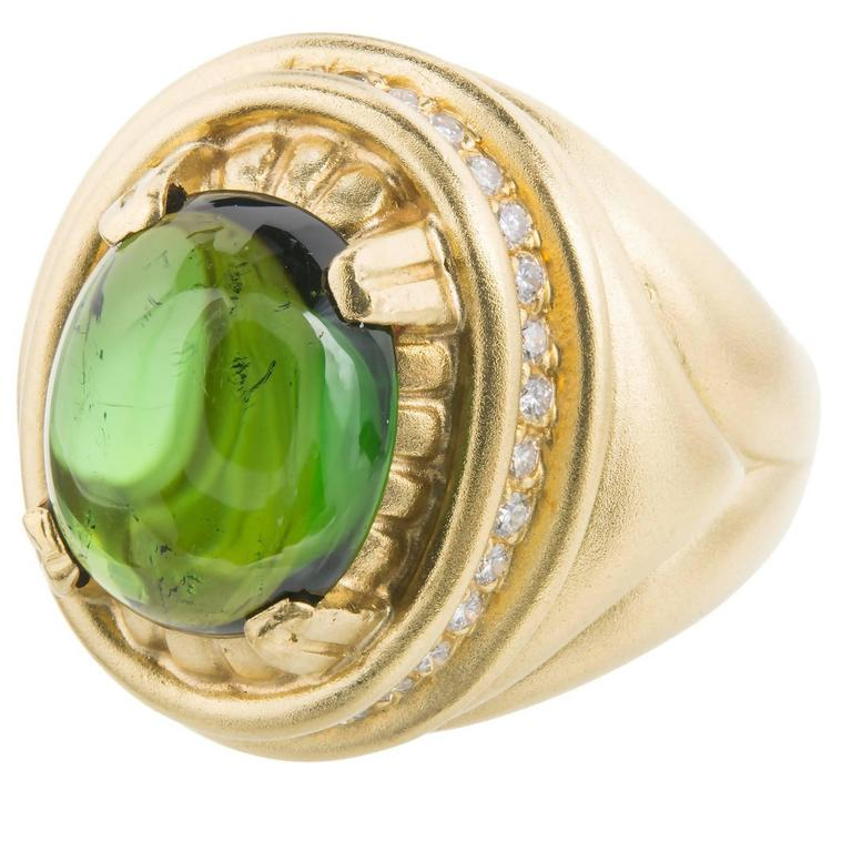 Cabochon Tourmaline Diamond Textured Gold Cocktail Ring For Sale