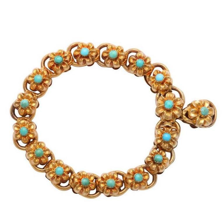 Antique Victorian Turquoise Gold Floral Bracelet 1