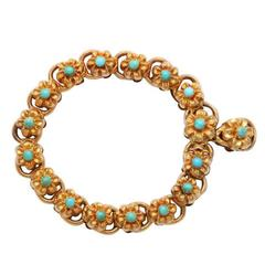 Two Sides of Beauty: A Victorian Turquoise Gold Floral Bracelet
