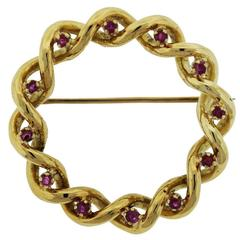 Tiffany & Co. Gold Ruby Wreath Pin