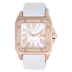 Cartier Santos 100 Rose Gold Diamond Bezel Crown Automatic winding Wristwatch