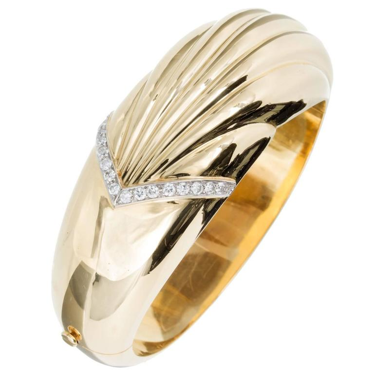 Diamond Gold Wide Bangle Bracelet