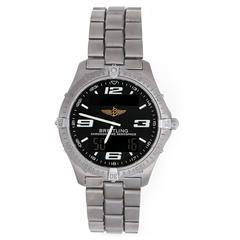 Breitling Titanium Aerospace Digital Analog Alarm GMT Quartz Wristwatch E75362
