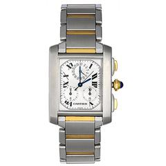 Cartier Yellow Gold Stainless Steel Tank Francaise Chronograph Quartz Wristwatch